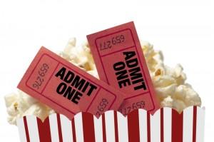 Movie tickets in popcorn box