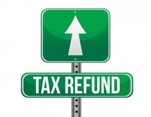 Tax refund street sign
