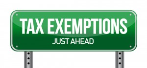 tax exemption street sign