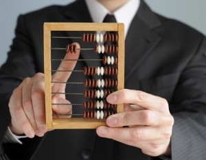 Man holding abacus